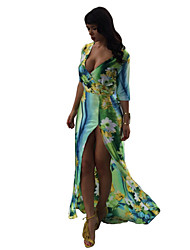 Women's Sexy / Print Floral Ball Gown Dress , Deep V Maxi Polyester