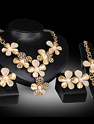 Lucky Doll Women's Vintage 18K Gold Plated Imitation Pearl 3D Flower Necklace & Earrings & Bracelet & Ring Jewelry Sets