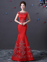 Formal Evening Dress Trumpet / Mermaid Bateau Floor-length Satin with Ruffles