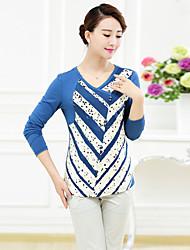 T-Shirt Da donna Ricamato A V Manica lunga Cotone / Elastene