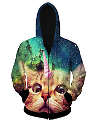 Men's High Quality Creative Fashion Personality Lovely Animals Space Cotton 3D Hooded Jackets —— One-Horned Cat