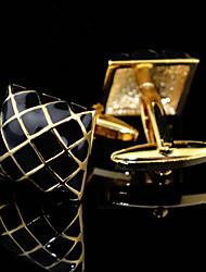 Fashion Copper Men Jewelry Silver Square Black Enamel Delicate Button Cufflinks(1Pair)