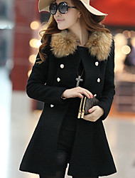 Weiwei Women's Patchwork Black Coats & Jackets , Vintage / Casual / Party / Work High-Neck Long Sleeve