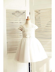 A-line Knee-length Flower Girl Dress - Lace / Tulle Short Sleeve Square with