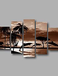 готовы повесить растягивается рамки ручная роспись маслом холст стены искусства восход пейзаж дельфин современные пять панелей