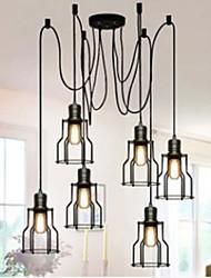 Rustique / Rétro LED Peintures Métal Lampe suspendue Salle de séjour / Salle à manger / Bureau/Bureau de maison