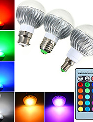 YWXLight E14 / E26/E27 / B22 5W 3 High Power LED 400lm RGB Dimmable / Remote-Controlled LED Globe Bulbs AC 85-265 V