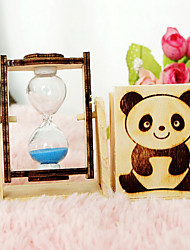 Lovely Panda Hourglass Wooden Pen Container Home Furnishing Articles