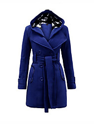 Women's Solid Blue / Red / Black / Purple / Beige / Gray Trench Coat , Casual / Plus Sizes Long Sleeve Polyester
