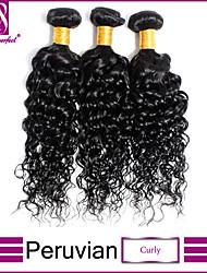 """8""""-30"""" Black Peruvian Curly Hair Weave 3Pcs/Lot 100% Unprocessed Peruvian Virgin Curly Hair"""
