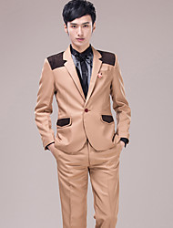 Men's Suits for Performances Presided Over Wedding Party Important Occasions Khaki  Suit Set 4490