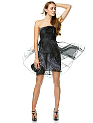 TS Couture® Cocktail Party / Company Party Dress A-line Strapless Short / Mini Organza with Flower(s) / Side Draping