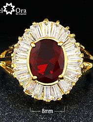 New 2015 Fashion Noble Red Cubic Zirconia Gold Plated Lady Ring For woman&lady