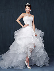 A-line Wedding Dress - Chic & Modern Vintage Inspired Asymmetrical Sweetheart Lace Tulle with Ruffle Beading