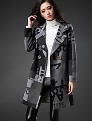 Women's Geometric Green  Gray Coat  Vintage  Casual Long Sleeve Fleece