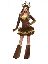 Performance David's Deer Costumes Sexy Women's Christmas Lady Costume(dress+legwear)