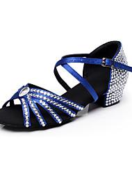 Customized Shoues Women's and Child's  Dance Shoes Inlay Diamond Satin Modern/Latin/ Samba Blue / Black / Brown