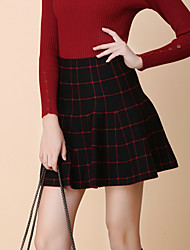 Women's Solid White / Black Skirts , Vintage / Sexy Mini