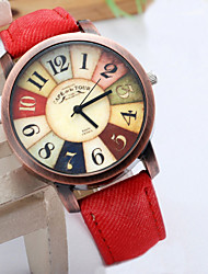 Women Wristwatch 2015 New Style Fashion Casual Watch Unisex Women Men Vintage Demic Fabric Leather Wristwatch Relojes Cool Watches Unique Watches