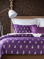 Retro Bottle Pattern Purple Cotton Bedding Set 4-Piece