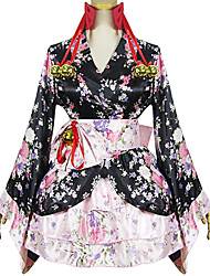 One-Piece/Dress / Maid Suits Classic/Traditional Lolita Lolita Cosplay Lolita Dress Black / Pink Patchwork / Print Long SleeveShort