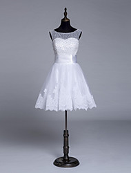 Short White Elegant Pearls Wedding Dress A-Line Princess Bridal Gowns High Quality