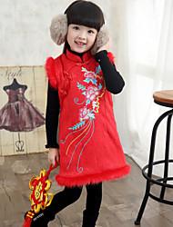Vestido Chica de - Invierno / Primavera / Otoño - Rayón - Rosa / Rojo