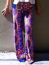 Pantalon Aux femmes Large A Motifs Mousseline de soie Non Elastique