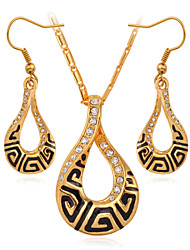 Vogue Vintage 18K Gold Plated Pendant Necklace Earrings Set SWA Rhinestone Crystal Jewelry for Women High Quality