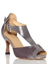 Non Customizable Women's Dance Shoes Latin Satin / Leather Flared Heel Gray