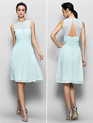 Lanting Knee-length Chiffon Bridesmaid Dress - Sky Blue Sheath/Column