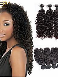 3pcs / lot cru onda preto mongol onda cabelo virgem extensões de cabelo humano cabelo natural 8 '' - 30 '' cabelo tecem