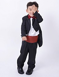 Dark Navy / Burgundy Polester/Cotton Blend Ring Bearer Suit - 4 Pieces