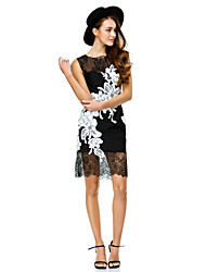 Cocktail Party / Company Party / Family Gathering Dress Sheath / Column Scoop Short / Mini Lace with Appliques / Lace