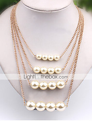 Necklace Strands Necklaces / Layered Necklaces / Pearl Necklace Jewelry Daily / Casual Pearl / Alloy / Imitation Pearl White 1pc Gift