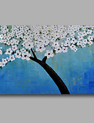 Ready to Hang Stretched Hand-Painted Oil Painting Canvas Wall Art Abstract Light Blue White Blossom One Panel