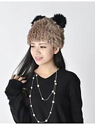 Women Cute Warm Rabbit Fur Panda Hats LD00127