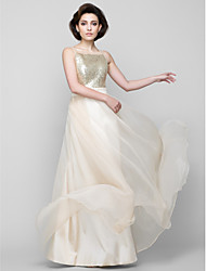 Floor-length Chiffon / Sequined Bridesmaid Dress - Champagne A-line Square