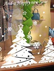 Merry Christmas Show Window Decoration Tree Star PVC Glass Static Sticker
