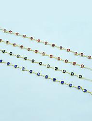 Oro 18k plateó el mal de ojo colgante de collar + pulsera joyas conjunto negro