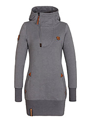 Women's Autumn Stylish Pocket Solid Color Long Hoodie