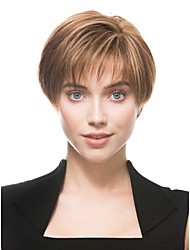 Woman's Light Brown Straight Short Synthetic Mix Wigs