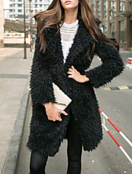 Women Fashion Solid Color Lapel Mid-long Faux Fur Outerwear