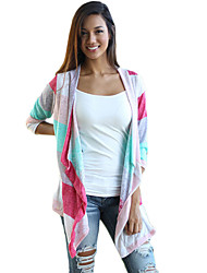 Women's Striped Multi-color Wrap , Cowl ¾ Sleeve