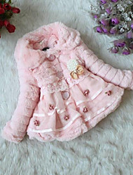 Girl's Pink / White / Beige Down & Cotton Padded , Floral Polyester Winter