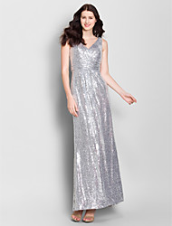 Ankle-length Chiffon Bridesmaid Dress Sheath / Column V-neck with Sequins