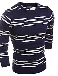 Suéteres ( Algodón Compuesto )- Casual / Trabajo Redondo Manga Larga para Hombre