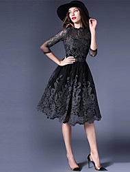 Women's Lace Party Vintage A Line Dress,Jacquard Round Neck Above Knee Long Sleeve Black Silk All Seasons