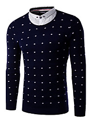 Men's Print Pullover , Cotton Blend Long Sleeve