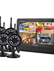 "2,4 GHz 4-Kanal Wireless-DVR Security System 7 ""TFT-LCD-Monitor mit 4 x Wireless IR Kamera"